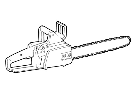 timber cutting: outline chainsaw on white background