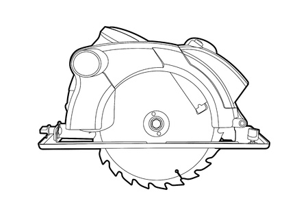 saws:  outline circular saw on white background