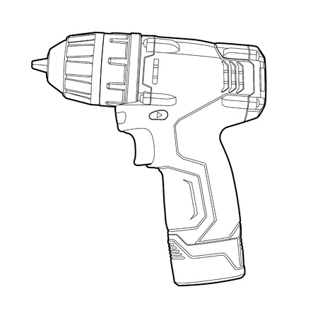 drill:  black outline cordless drill on white Illustration