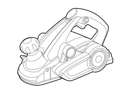 gatillo: herramienta eléctrica en el fondo blanco