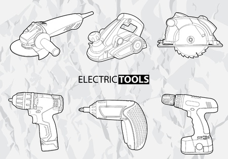 timber cutting: electric tools set on gray background