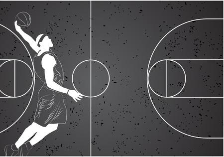 freestyle:  basketball player on gray background Illustration