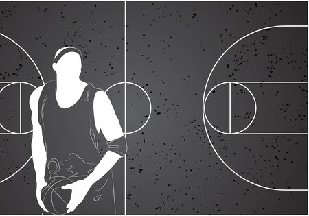 basketball player on gray background Vector