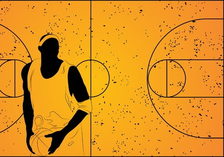 freestyle:  basketball player on orange background (illustration) Illustration
