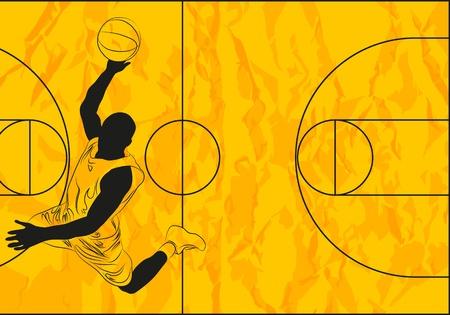 basketball player on orange background (illustration) Vector