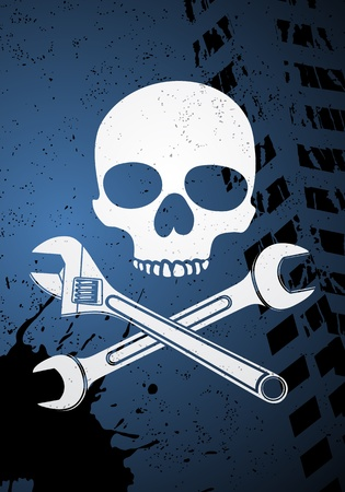 Skull with wrenches Stock Vector - 11656759