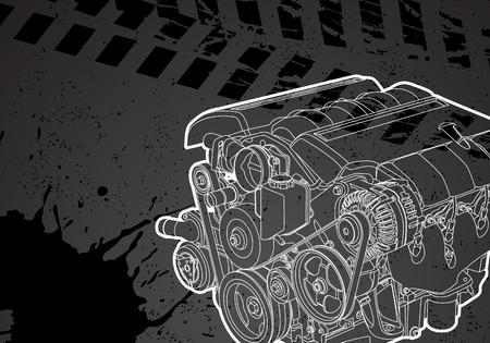 car detail: engine Illustration