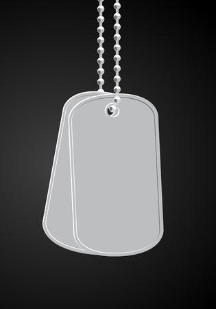 dangle: dog tags militare su sfondo nero
