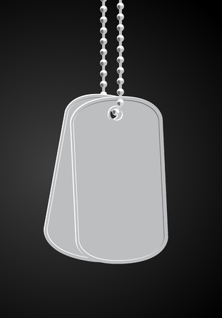 military dog tags on black Vector