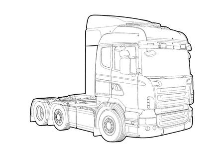 Outline truck Stock Vector - 12494349
