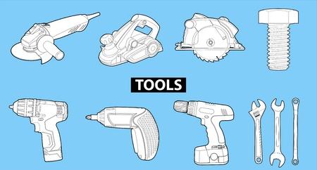 hardened: tools on blue Illustration