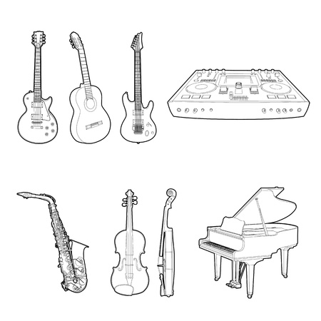 media player: Musical instrument set