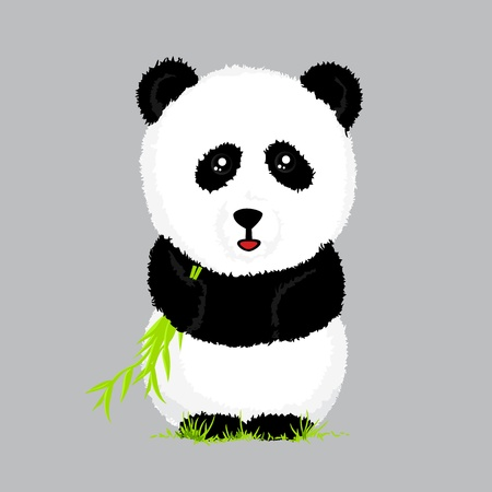 cute little panda with bamboo on gray photo