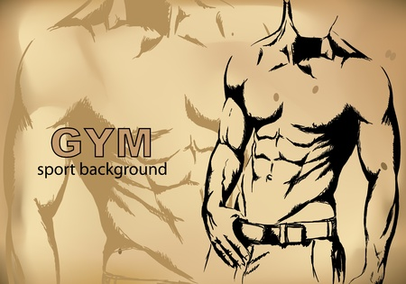 strength training: Strong man sketch on brown background