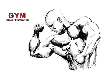 muscular body: Strong man sketch on white background Stock Photo