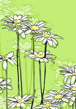 Beautiful floral background on green photo