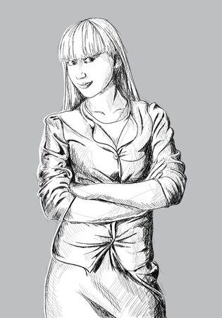 Beautiful hand drawn girl on gray background photo