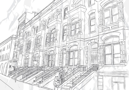 cosmopolitan: Sketch of the street on white background