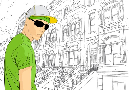 cosmopolitan:  illustration of man on town sketch background