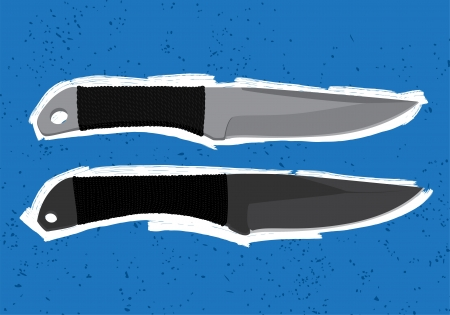 throwing knife: Throwing knives on blue background Illustration