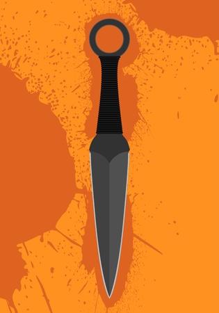 throwing knife: Throwing knife on orange background Illustration