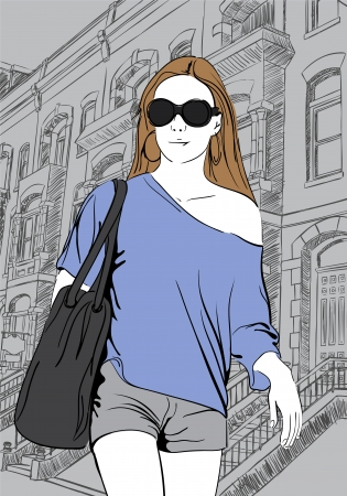 Sketch illustration of girl on town background Vector