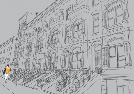 london street: Sketch of the street on gray background