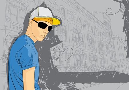 expressive style:  illustration of man on gray background background