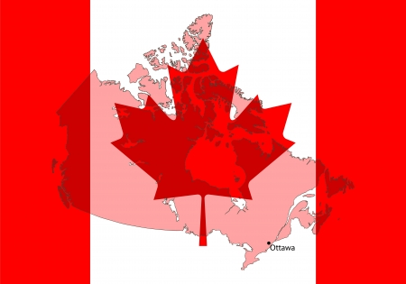 alberta: stylized Canada map with flag on background