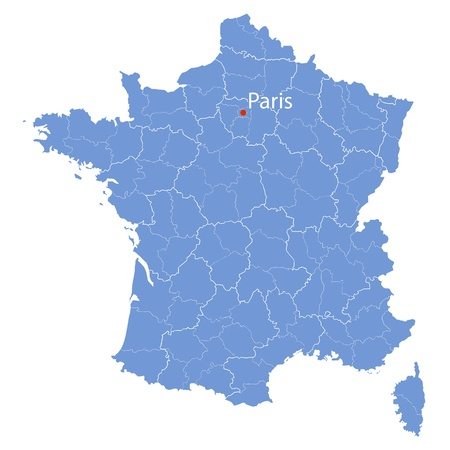 stylized map of France on white background Vector