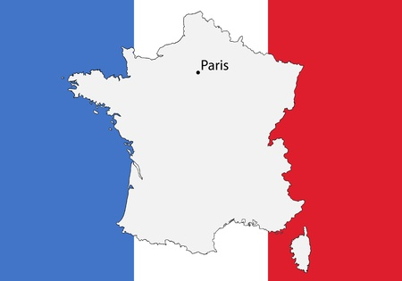 flag of france: stylized map of France with flag Illustration