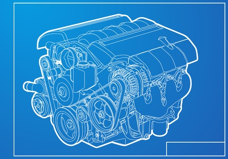 mechanic tools: engine on blue background