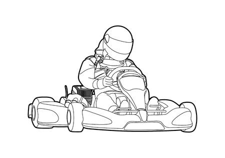 adrenalina: Karting Vectores