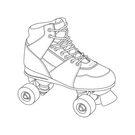 niño en patines: Esquema del patín de ruedas en el fondo blanco