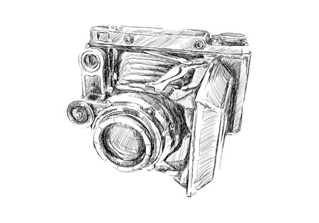 old technology: Old camera sketch on white background