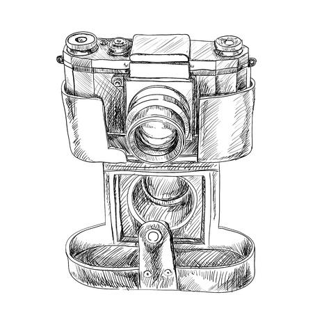 camera lens: Sketch of old camera on white background