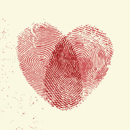 Valentine background (red fingerprint on light background) Vector