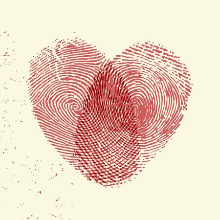 weddings: Valentine background (red fingerprint on light background)
