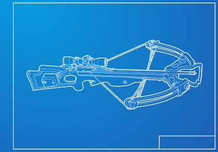 cross match: Outline crossbow on blue