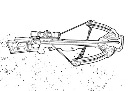 bowstring: Outline crossbow on white