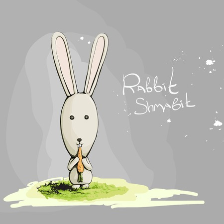 white rabbit: Cute rabbit with carrot on gray background Illustration