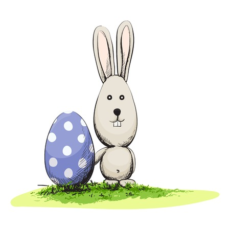 Cute easter rabbit with egg Vector