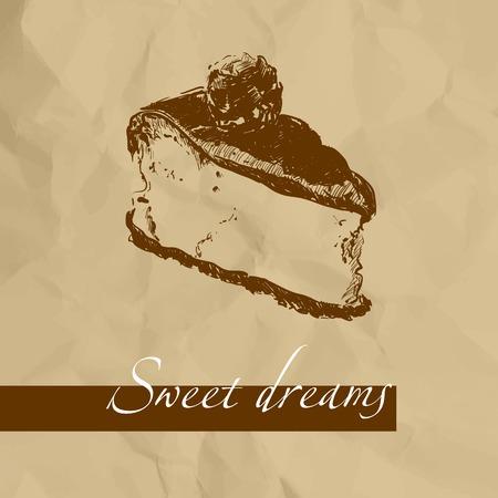 Süßer Kuchen auf braunem Hintergrund