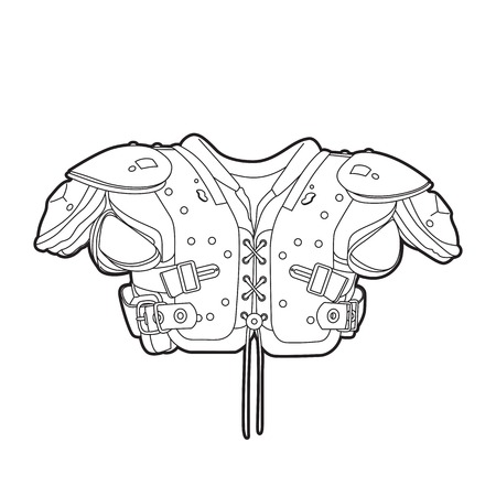 nfl: Outline football shoulder pads on white Illustration