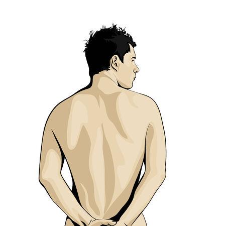 Vista posteriore della giovane uomo su sfondo bianco Archivio Fotografico - 29686169