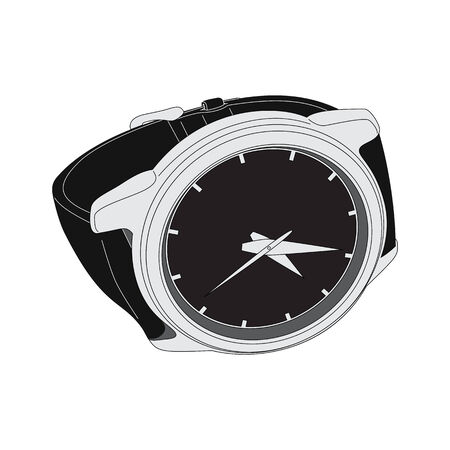 wristwatch: black wristwatch on white background