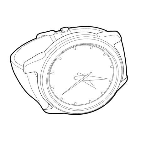 wristwatch: outline wristwatch on white background