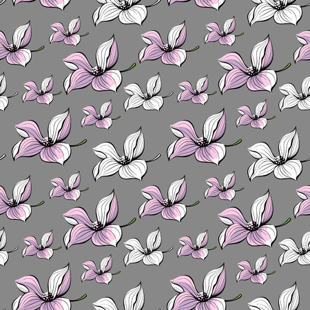 few: Seamless floral illustration. Few flowers on gray