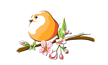 lively: cute orange bird on branch