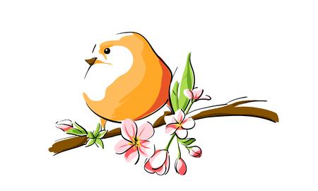 Pájaro anaranjado lindo en rama Foto de archivo - 40619593